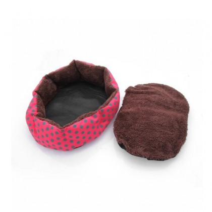 Biziborong Comfy Cotton Cute And Soft Pet Bed Pink Red Dots - R559