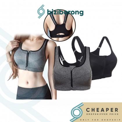 Biziborong Anti - Vibration Racerback Gym Fitness Zipper Zip Yoga Sport Bra - R553