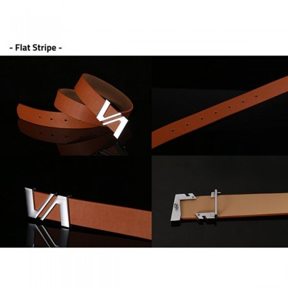 Biziborong Mens Adjustable Genuine Leather Ratchet Automatic Buckle Belt R547