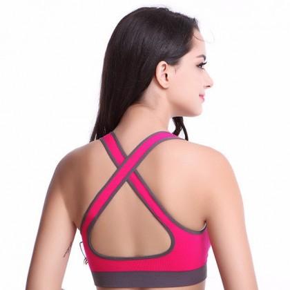 Biziborong Crossback Lady Women Girl Fitness Sport Yoga Bra (Pink) - R319