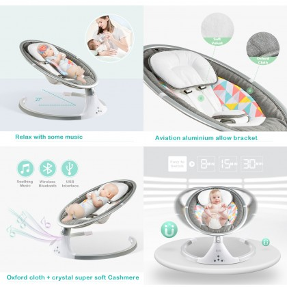 Biziborong Infant Baby Electric Auto Swing Cradle With Music Rocking Chair - R979