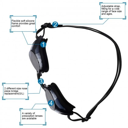 Biziborong Myopia Prescription Power Corrective Lens Adult Swimming Goggles - R1006
