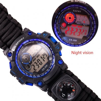 Biziborong 7 in 1 Survival Paracord Bracelet Watch with Compass Fire Starter - RA65