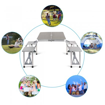 Biziborong Foldable Aluminium Premium Hand Carry Portable Picnic Table with Chair - RB32