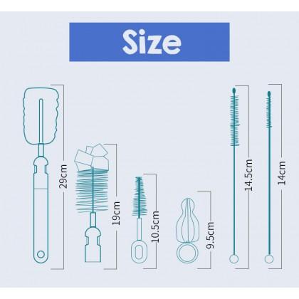 Biziborong 6 in 1 Baby Bottle & Accessories Non-Slip Grip Brush Sponge Cleaning Set - RA82