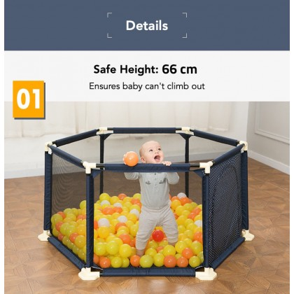 Biziborong Play Fence Safety Yard Kids Baby Playpen with Basketball Hoop - RA23