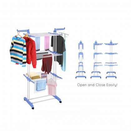 Biziborong 3 Tier Large Capacity Hanger Clothes Drying Rack With Rotating Wheels - R1017