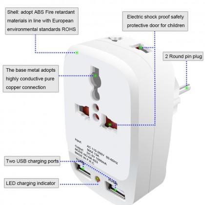 Biziborong 2 USB Ports Universal Malaysia Plug Head Travel Adapter Charger - R236