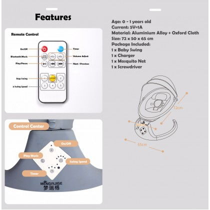Biziborong 1 Year Warranty Bluetooth Remote Infant Baby Electric Auto Swing Cradle With Music Rocking Chair - RC33