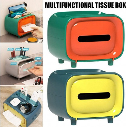 Biziborong Retro TV Tissue Box Multi Storage Container Phone Holder for Bedroom Home Living Office - RC82