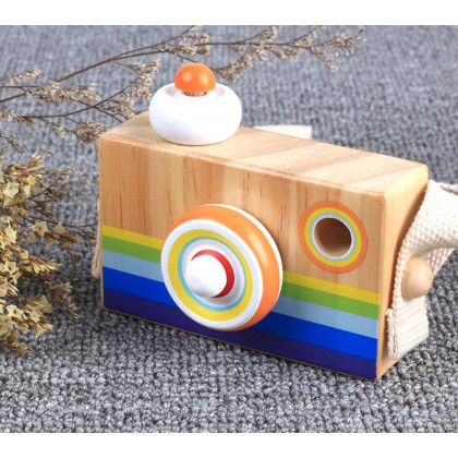 Biziborong Wooden Camera for Kids Pretend Play Toy Prism Kaleidoscope Mirror Permainan Kanak Kanak - RE47
