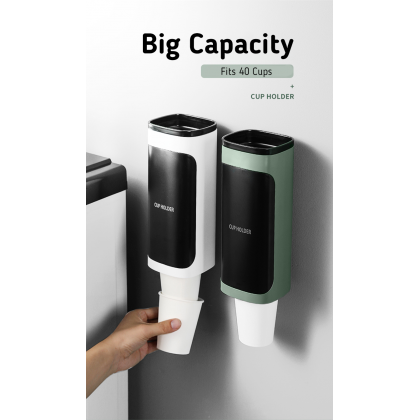 Biziborong Pull Automated Single Double Wall Mounted Paper Plastic Disposable Cup Holder Dispenser for Office - RE71