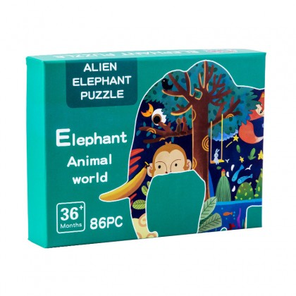 Biziborong Kids Interactive Colorful Jigsaw Puzzle Cartoon Dinosaur Elephant Irregular Puzzle - RE81