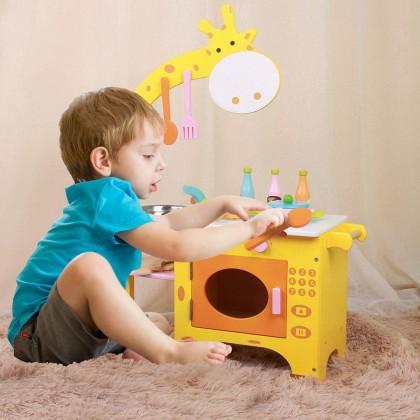 Biziborong Giraffe Kitchen Playset Pretend Play Cooking Wooden Toy Permainan Masak Masak Mainan Budak Perempuan - RE96