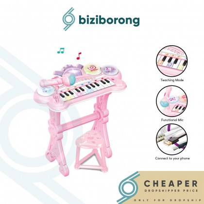 Biziborong Electronic Piano Keyboard with Chair Mic Musical Instrument Learning Kids Toy - RF48