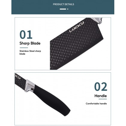 Biziborong 6 Pcs Black High Quality Stainless Steel Kitchen Knife Set Pisau Dapur 6 in 1 Set - RF61