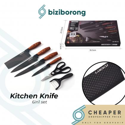 Biziborong 6 Pcs Brown High Quality Stainless Steel Kitchen Knife Set Pisau Dapur 6 in 1 Set - RF62