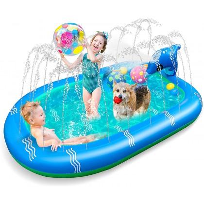 Biziborong 110cm / 170cm Kids Dolphin Water Play Pool Ball Pit Sprinkle Splash Outdoor Swimming Pool Kolam - RF59