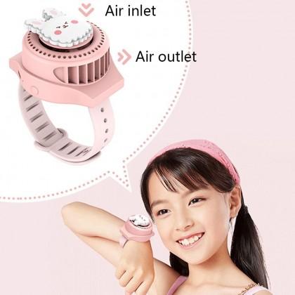 Biziborong Cartoon USB Charging 3 Speed Adjustable Wrist Watch Fan Kids Watch - RF49
