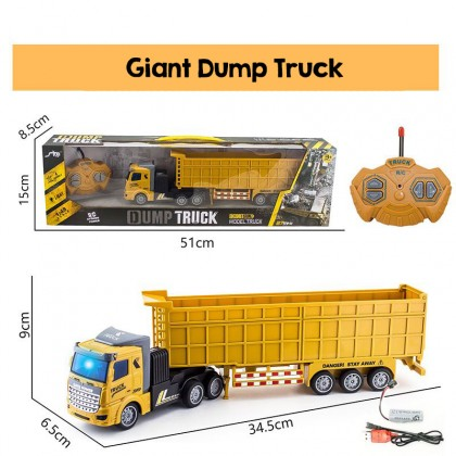 Biziborong Dump Truck Container Gas Truck Remote Control RC Car Kids Toy Construction Rechargeable Kereta Kontrol - RF95