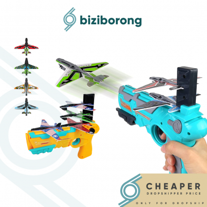 Biziborong Airplane Launcher Bubble Foam Plane Toy Gun Catapult Glider Shooting Game Outdoor Kids Toys - RF96
