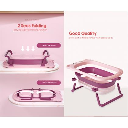 Biziborong Folding Foldable Bath Tub 0 - 6 Years Old for Kids Baby Newborn Bathing Water Play Bathtub Kolam - RF79