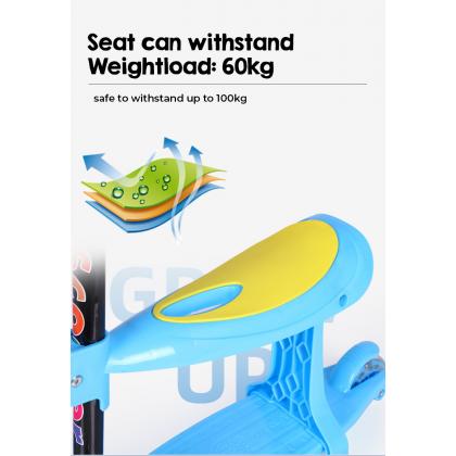 Biziborong Kids Scooter Foldable Adjustable Height Cartoon Tri Wheels Kick Flash Wheel LED Light 3 in 1 Seat - RF82