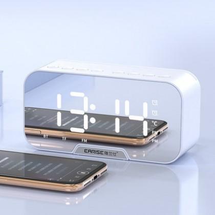 Biziborong LED Bluetooth Speakers Portable Wireless with FM Radio Smart Digital Alarm Clock Mirror Music Player - RF97