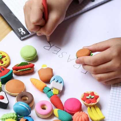Biziborong Fast Food Fries Burger Sandwich Hot Dog Colorful Eraser Kids School Writing Stationery Rubber - AT003